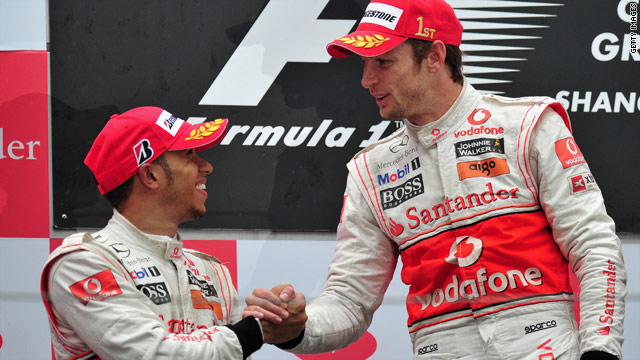 Jenson Button, right, and Lewis Hamilton finished first and second for McLaren at the Chinese Grand Prix in April.