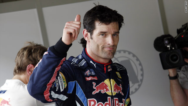 Webber give the thumbs up claiming his fourth pole position of the season.
