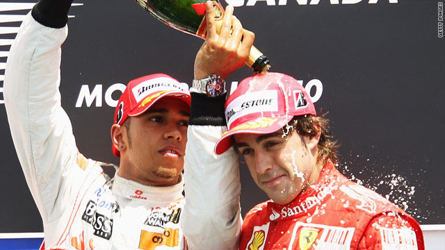 Fernando Alonso (R) could only finish third behind McLaren's Lewis Hamilton at the Canadian Grand Prix.