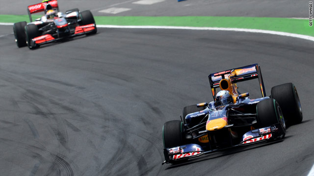 Sebastian Vettel on his way to his second victory of the season in the European Grand Prix in Valencia, Spain.