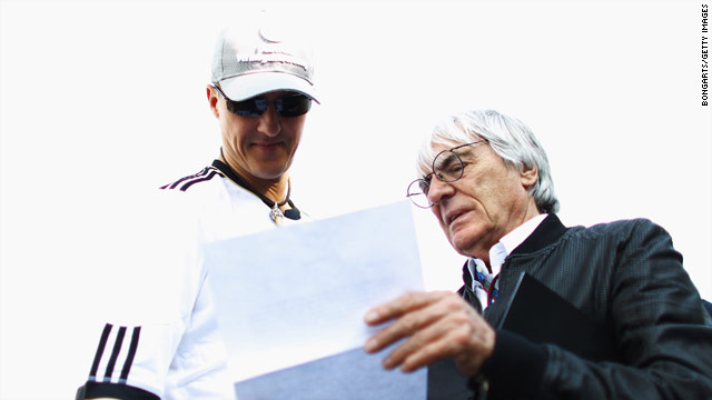 Bernie Ecclestone, right, has expressed his support for Michael Schumacher, statistically F1's greatest driver.