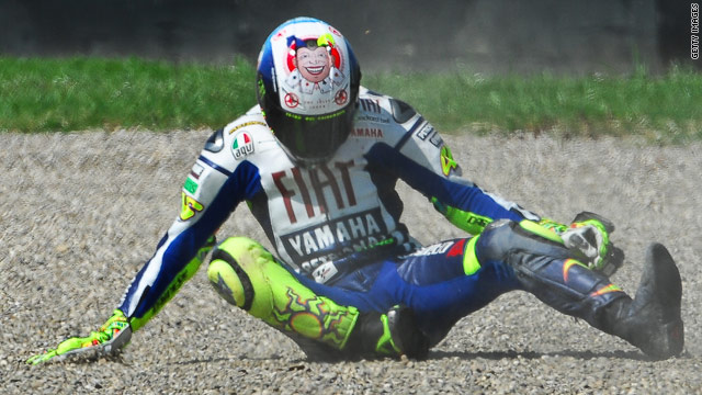 MotoGP champion Valentino Rossi broke his leg in this accident in Italy back in June.