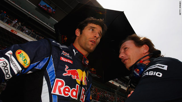 Red Bull driver Mark Webber, left, with team principal Christian Horner at the 2010 Spanish Grand Prix in Barcelona.