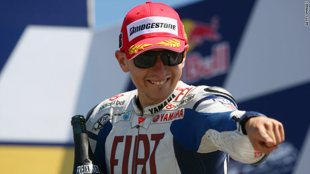 Spain's Jorge Lorenzo celebrates his first ever victory in the U.S. Grand Prix in California.