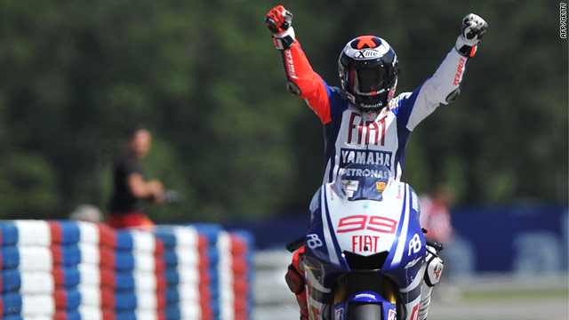 Lorenzo celebrates his seventh win of the season as he leads the title race.