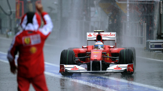 Ferrari's Fernando Alonso was quickest at Spa, even during the rain-affected morning session.