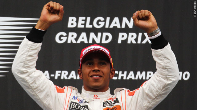Lewis Hamilton celebrates his win at the Belgian Grand Prix.