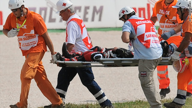 Shoya Tomizawa is strecthered from the track following his tragic accident in San Marino on Sunday.