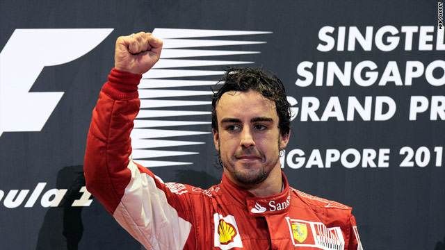 Alonso celebrates his fourth win of the season and the 25th of his glittering F1 career.