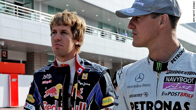 Michael Schumacher, right, with Red Bull's Sebastian Vettel ahead of October's inaugural South Korea Grand Prix.