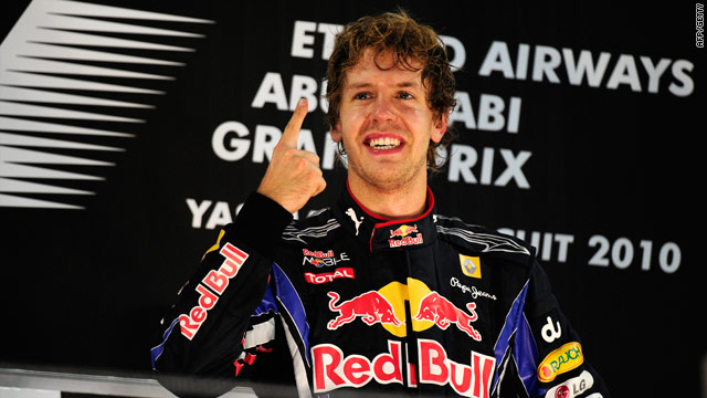 Sebastian Vettel signals victory and the world title after his heroics in Abu Dhabi.