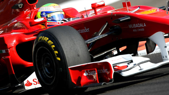 Ferrari's Felipe Massa road tests the new Pirelli tires at Abu Dhabi's Yas Marina circuit.