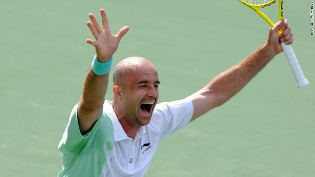 Ivan Ljubicic celebrates after claiming his second big scalp of the ATP Tour's Masters tournament in California.