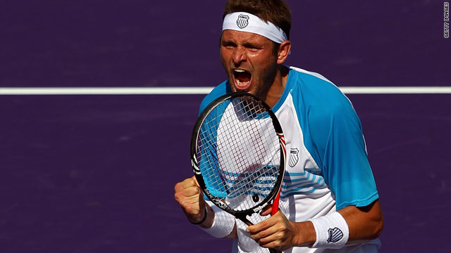 Mardy Fish celebrated his first victory over world No. 3 Andy Murray since 2005.
