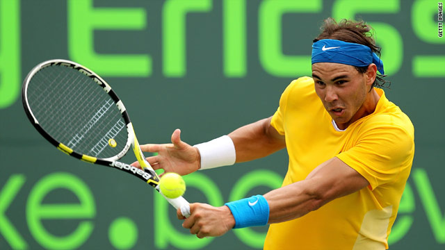 Rafael Nadal was made to dig deep before edging past David Nalbandian in the Sony Ericsson Open in Miami.