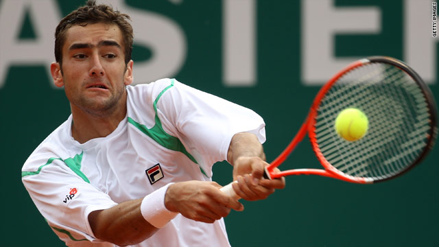 Marin Cilic in action on his way to a 6-7 6-1 6-4 victory over Russian Igor Andreev at the Monte-Carlo Masters.