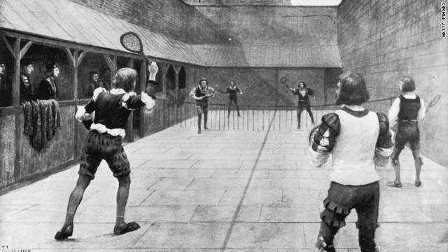 An illustration of a game of Real Tennis being played during the time of King Henry VII, circa 1500.
