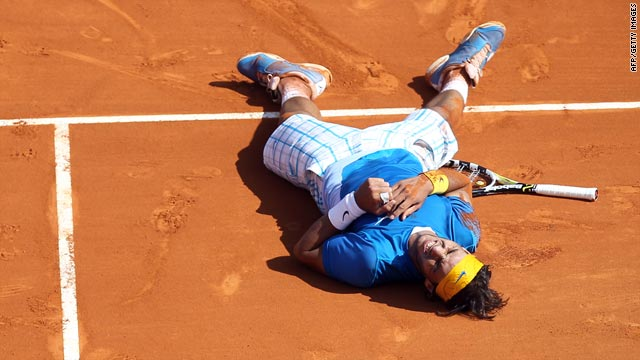 """King of Clay"" Rafael Nadal was overcome with emotion after continuing his winning run in Monte Carlo."