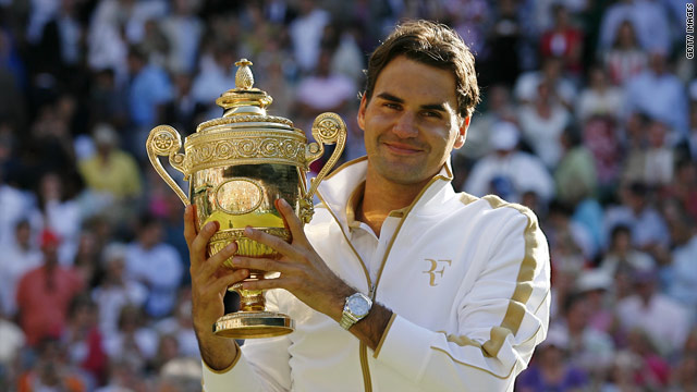 Roger Federer collected his sixth Wimbledon tennis title at the All England Club last year.