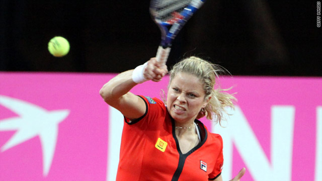 Kim Clijsters in action for Belgium in the Fed Cup.