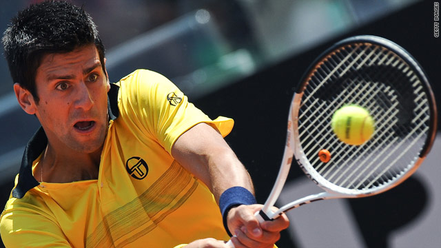 World number two Novak Djokovic in action during his 7-6 3-6 6-4 defeat to Spain's Fernando Verdasco at the Rome Masters.
