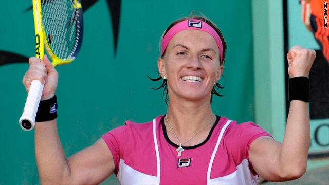 Svetlana Kuznetsova celebrates reaching the third round of the French Open at Roland Garros.