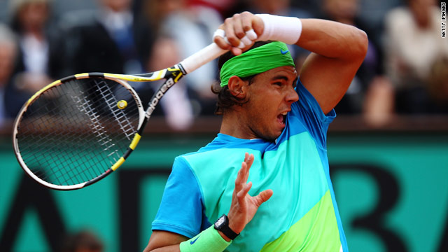 Rafael Nadal hooks a powerful forehand during his straight sets win over Lleyton Hewitt.