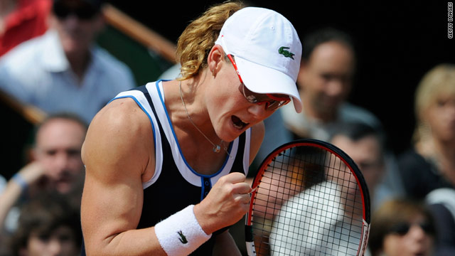 Sam Stosur celebrates her victory over top seed Serena Williams at the French Open.
