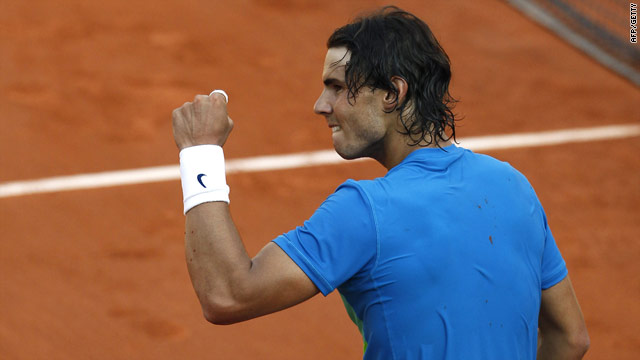 Nadal pumps his fist in his traditional celebration after beating Melzer in the semifinals.