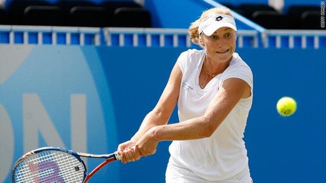 Makarova plays a return during her superb win over Stosur at Eastbourne.