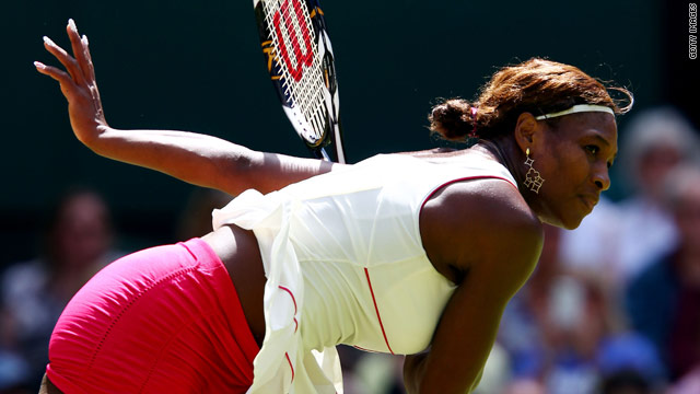 Serena Williams powered down 15 aces on her way to a first round victory at Wimbledon.