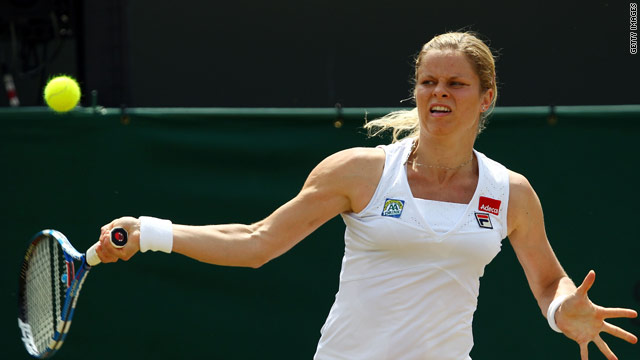 Clijsters powers a forehand during straight sets win over Kirilenko at Wimbledon.