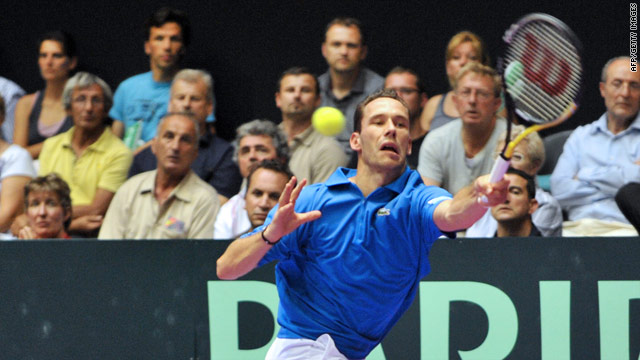 France's Michael Llodra in action during France's victory over Spain in the Davis Cup.