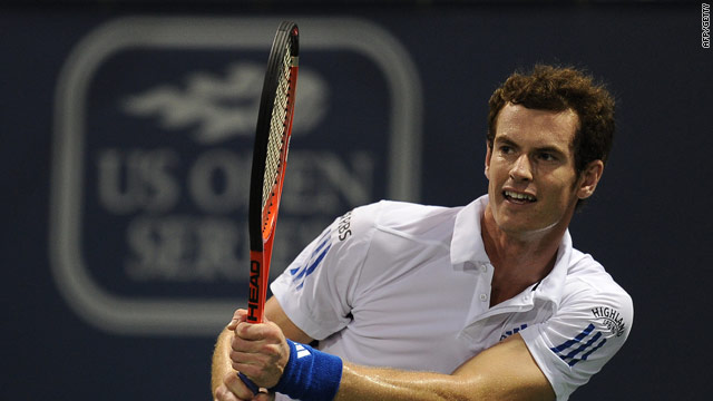 Murray powers a backhand during his second round victory in Los Angeles.