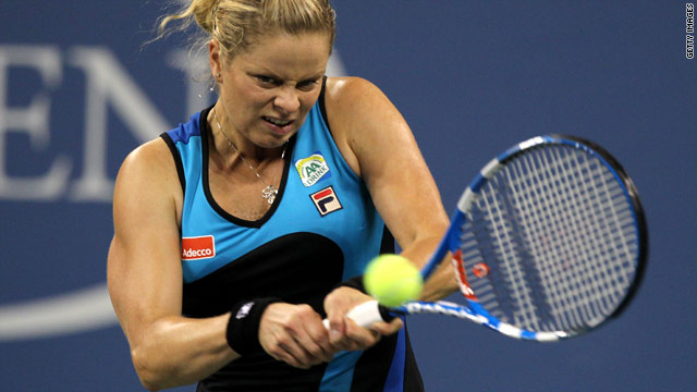 Defending U.S. Open champion Kim Clijsters wasted no time in securing her place in the third round at Flushing Meadows.