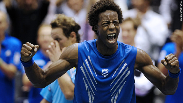 Gael Monfils celebrates winning the second singles rubber as France opened up a 2-0 lead over Argentina.