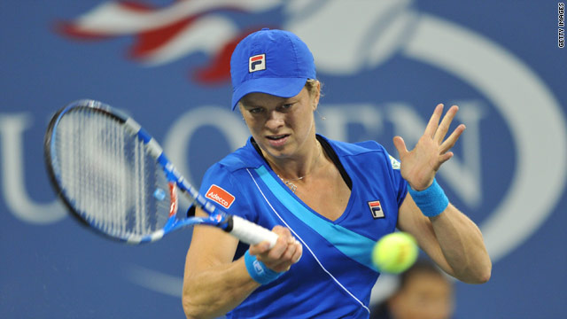Kim Clijsters hits out during her US Open final triumph over Vera Zvonareva