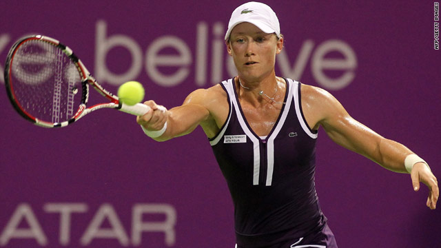 A sweat-drenched Samantha Stosur caused the first shock of the season-ending WTA Championships in Doha on Wednesday.