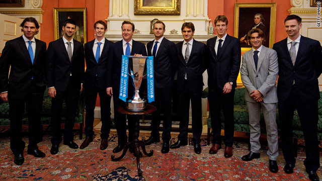 British PM David Cameron (4th from left) with the eight ATP World Tour finalists at Downing Street.