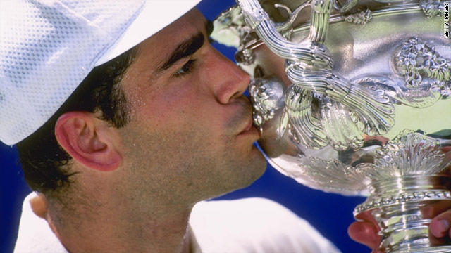 Pete Sampras celebrates winning the 1997 Australian Open. His 1994 trophy was one of many items stolen from a storage unit.