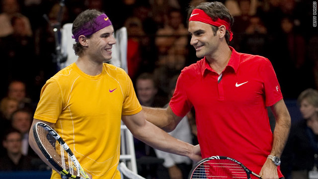 Rafael Nadal (left) holds a 14-8 lead over Roger Federer (right) in competitive matches between the two.