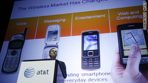AT&T spokesman David Christopher speaks at Wednesday's announcement.