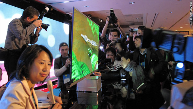 A flat-screen TV rolled out Wednesday by LG looked barely thicker than a piece of posterboard.