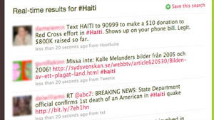 Twitter users have spread the word about the crisis in Haiti and how to help.