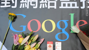 A banner left on a sidewalk in Hong Kong on Thursday wishes Google well.