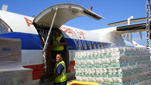 American Airlines flew supplies to Haiti on Wednesday but did not offer free flights to medical personnel, it says.