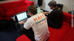 Volunteers at Saturday's CrisisCamp Haiti work on digital mapping and iPhone apps, among other projects.