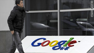 A man walks past Google's China headquarters building in Beijing on Wednesday.