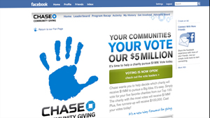 Chase's Facebook charity campaign will award $5 million to the groups getting the most votes.