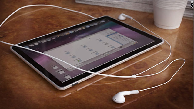 A speculative rendering of what an Apple tablet device might look like. Apple's expected to announce the product Wednesday.